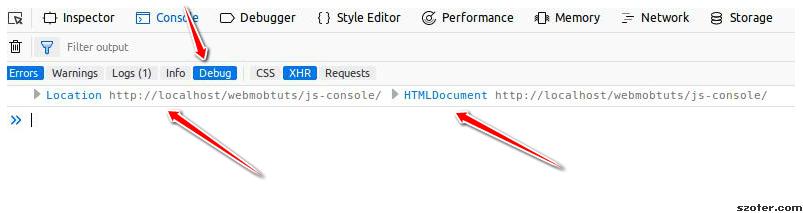 javascript console debug