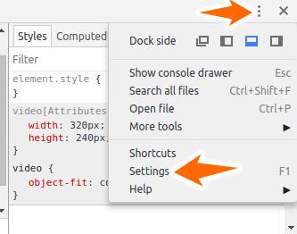 chrome developer settings