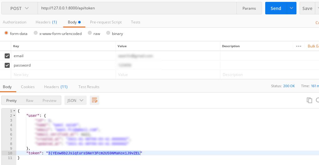 Laravel 8 Sanctum Authentication For Mobile APIS - token