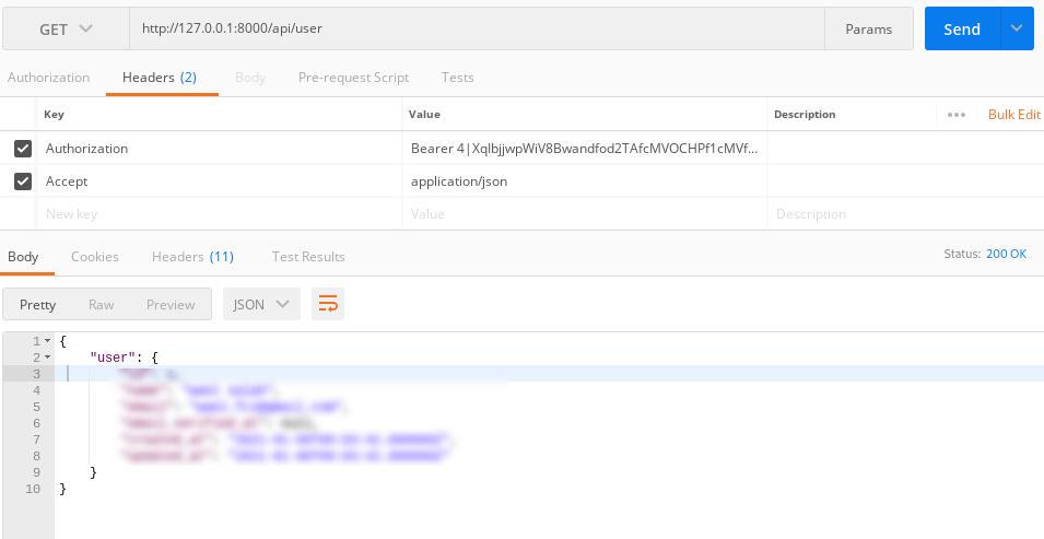 Laravel 8 Sanctum Authentication For Mobile APIS - user data